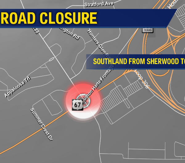Road Closure - Southand from Sherwood to Sam's