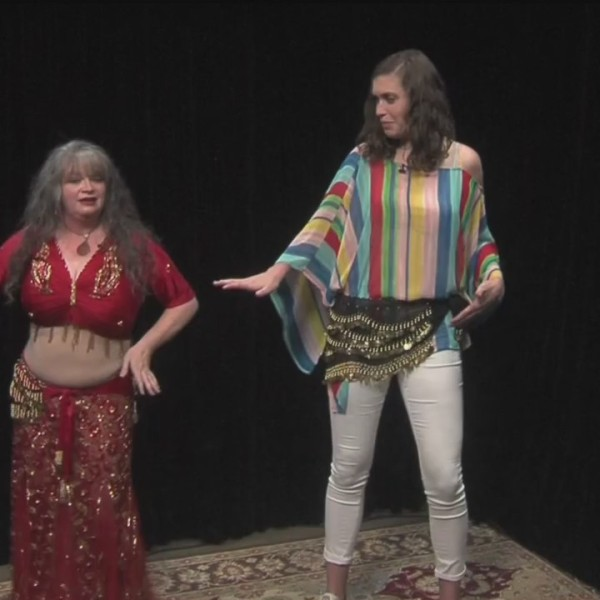 Carrie Teaches Erin how to belly Dance