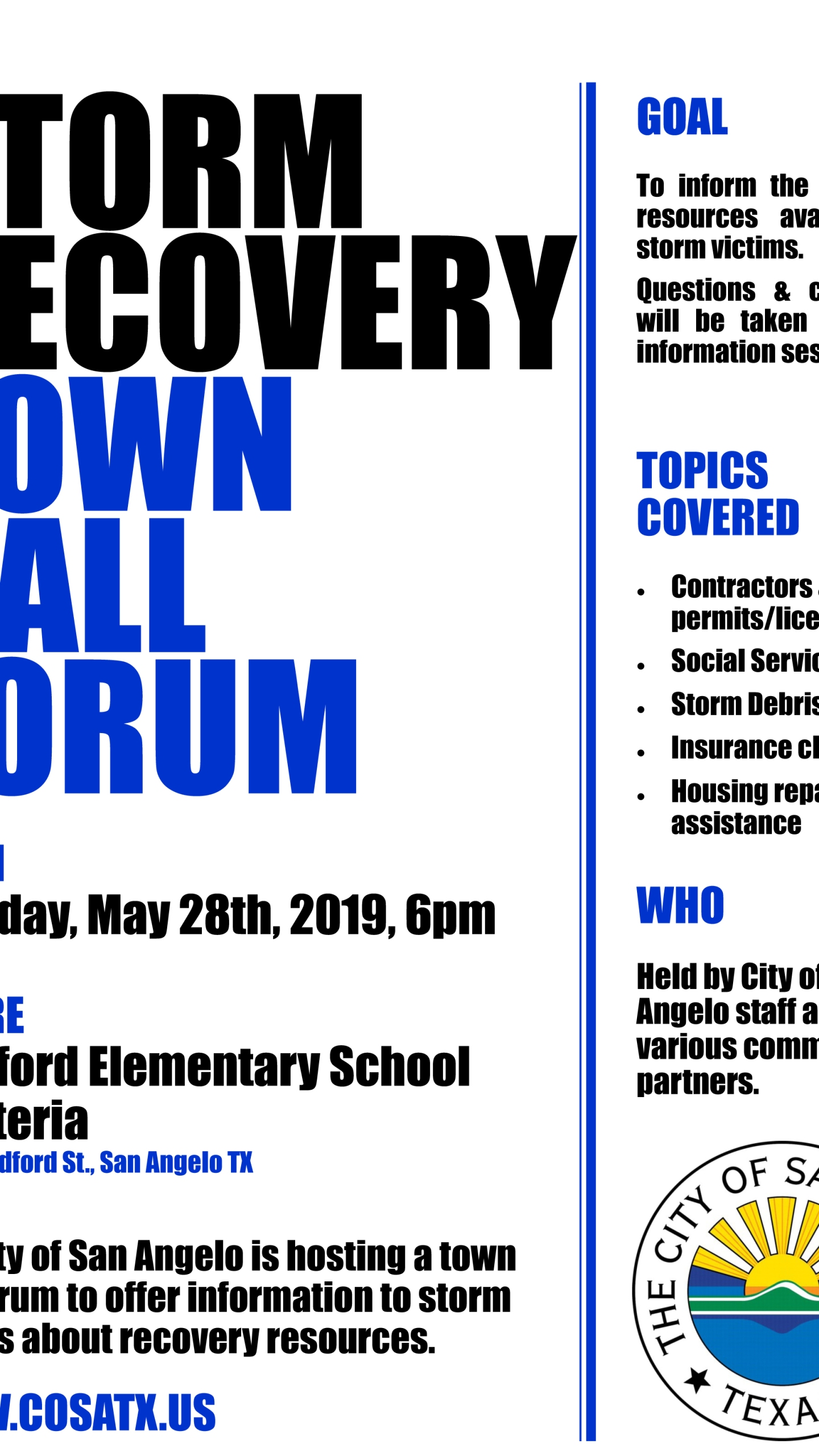 Bradford Recovery Town Hall Forum Flyer