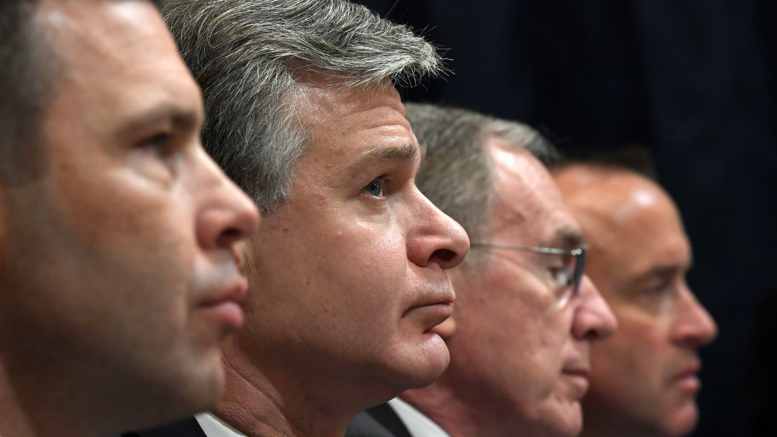 Christopher Wray, Kevin McAleenan, Russell Travers, David J. Glawe