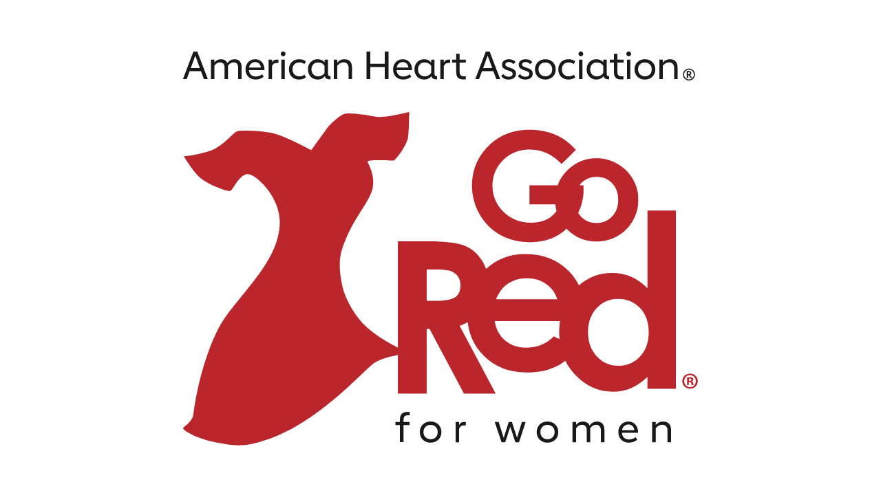 "American Heart Association Go Red for Women Logo - Illustration of a red dres next to the words ""Go Red for Women"""