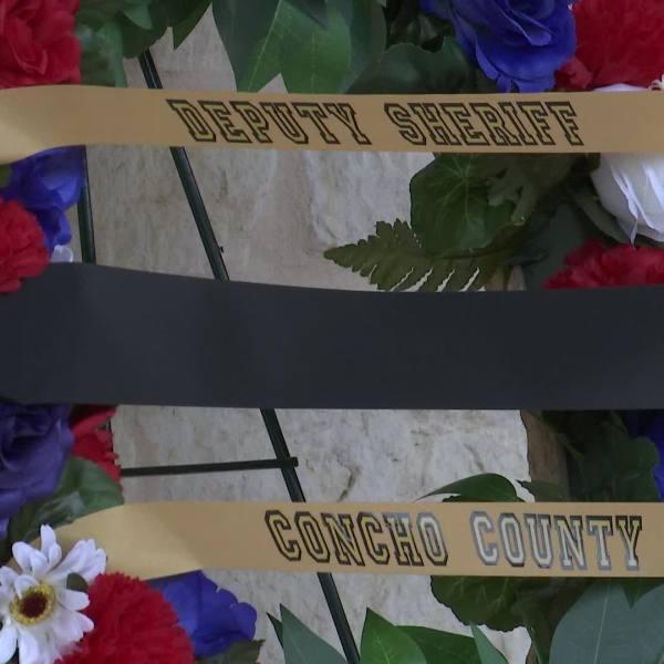 Funeral wreath for fallen Concho County deputy, Samuel Leonard