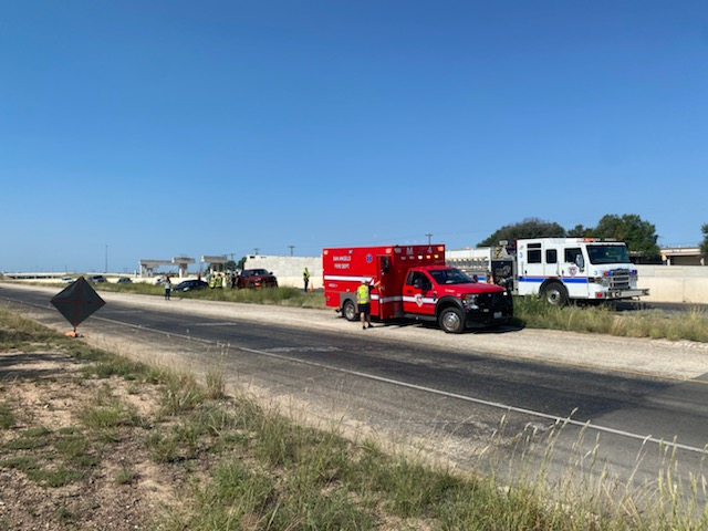 Emergency responders from the San Angelo Fire Department on the scene of a multi-vehicle collision on US 67 N