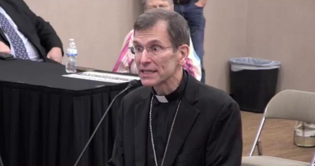 Bishop Michael Sis speaking at a San Angelo City Council meeting on September 9, 2021