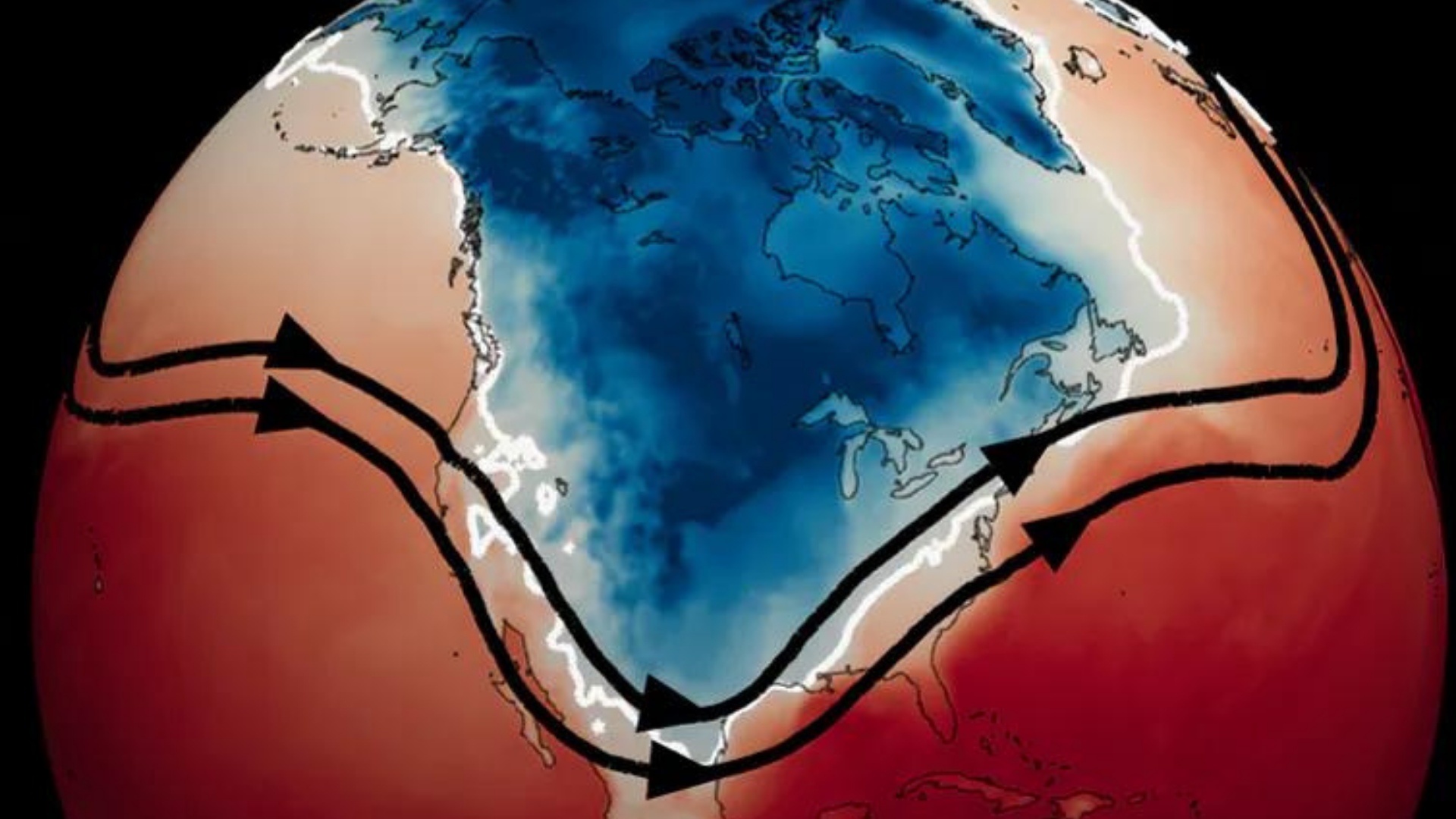 Surface temperatures on Feb. 15, 2021, at 6 a.m. in Texas. The black lines show the jet stream, and the white line indicates the extent of freezing temperatures. Mathew Barlow/University of Massachusetts Lowell, CC BY-ND